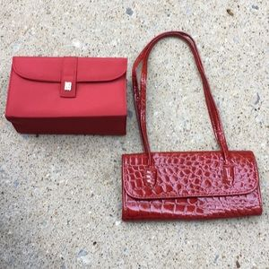 (NWOT) Red clutch and red wristlet